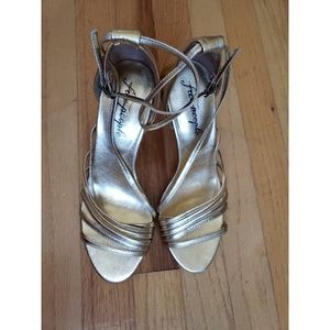 Free People Disco Fever Heel Gold Size 8